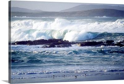 Wave Breaking On Shore, Ballyhiernan Bay, Fanad Head, County Donegal, Ireland
