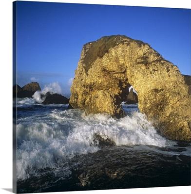 Wave Splashing Against Natural Arch, Antrim Coast, County Antrim, Northern Ireland