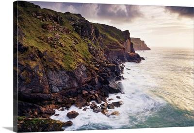 Waves Breaking Below Rugged Sea Cliffs, Rumps Point, Cornwall, England