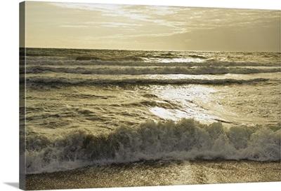 Waves Of The Ocean At Sunset; Tarifa, Cadiz, Andalusia, Spain