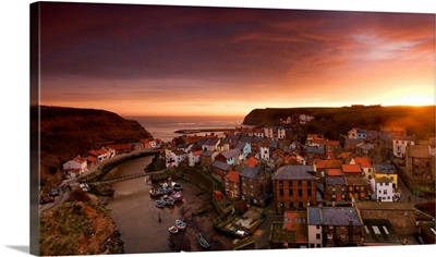 Wide Angle Cityscape At Sunset, Staithes, Yorkshire, England