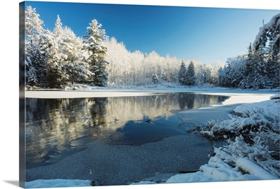 Winter landscape with ice on a lake, Ontario, Canada