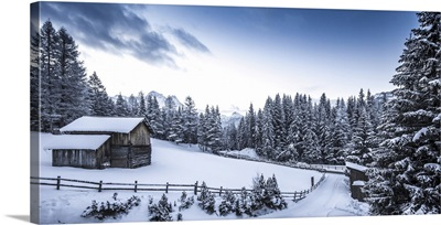 Winter Scene Looking Down At A Log Cabin Surrounded By Snow Covered Pine Trees, Italy