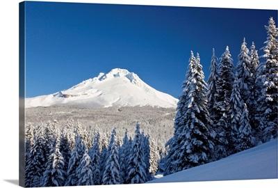 Winter Snow Over The Cascade Range; Mount Hood, Oregon, USA