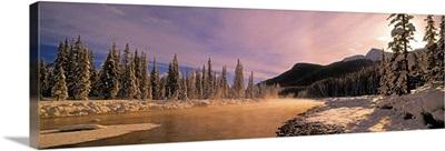 Winter Sunset On Bow River, Banff National Park, Alberta, Canada