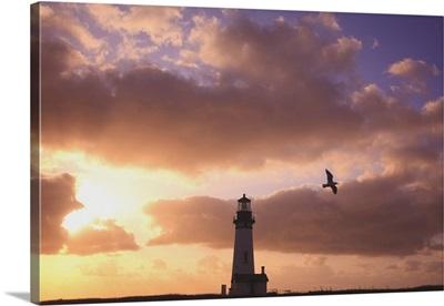 Yaquina Head Lighthouse At Sunset, Oregon