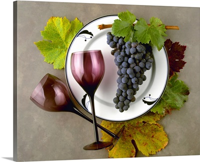 Zinfandel wine grape cluster and leaves with burgundy colored wine glasses