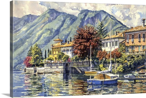 Blue Boat In Lake Maggiore Wall Art Canvas Prints Framed Prints Wall Peels Great Big Canvas