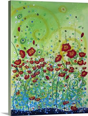 Red Poppies Yellow Swirls