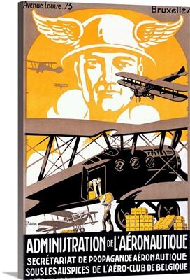 Administration de l'Aeronautique, Bruxelle, Vintage Poster, by Michielssen