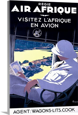 Air Afrique, Visitez L'Afrique, Vintage Poster, by A. Roquin
