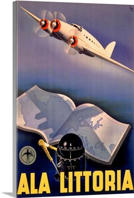 Ala Littoria, Airline, Vintage Poster