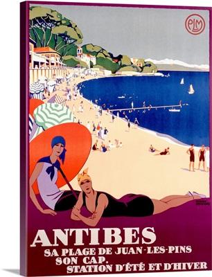 Antibes, Sa Plage de Juan Les Pins, Vintage Poster,by Roger Broders