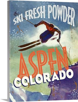 Aspen Colorado Ski Fresh Powder Vintage Advertising Poster