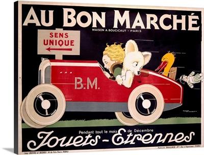 Au Bon Marche, Childrens Roadster, Vintage Poster