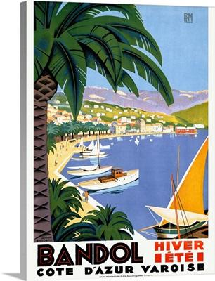 Bandol Hiver Ete, Vintage Poster, by Roger Broders
