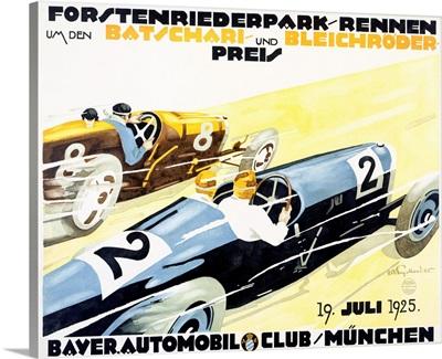 Bayer Auto Club Roadster, Vintage Poster, by Julius U. Engelhard