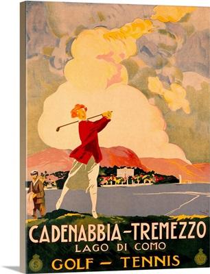 Cadenabbia Tremezzo, Golf and Tennis, Vintage Poster