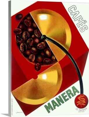 Cafe Manera, Coffee Bean, Vintage Poster