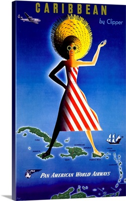 Caribbean, Pan American World Airways, Vintage Poster, by Clipper
