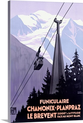 Chamonix Mont Blanc, Cable Car France, Vintage Poster, by Roger Broders