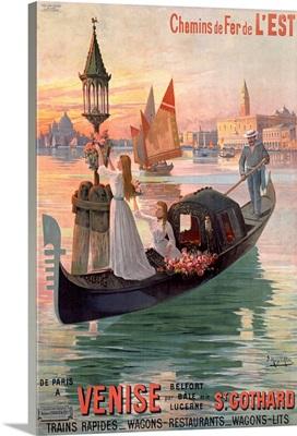 Chemins de Fer de LEst, Venise, Vintage Poster, by Hugo DAlesi