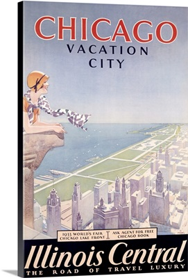 Chicago, Vacation Guide, Illinois Central, Vintage Poster