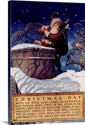 Christmas Day, National Savings Bank, Vintage Poster