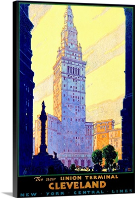 Cleveland Union Train Terminal Vintage Advertising Poster