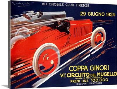 Coppa Ginori, Automobile Race, Vintage Poster