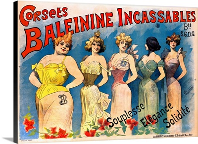 Corsets Baleinine Incassables, Vintage Poster, by Alfred Choubrac