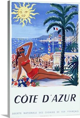 Cote DAzur, Societe Nationale Des Chemins De Fer Francais, Vintage Poster