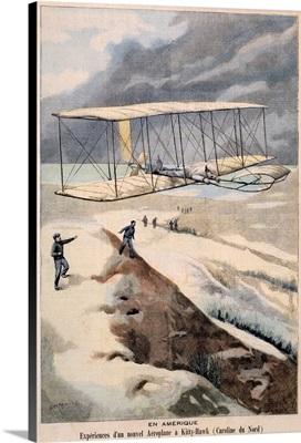 En Amerique, Airplane Kitty Hawk, Vintage Poster, by Carrey