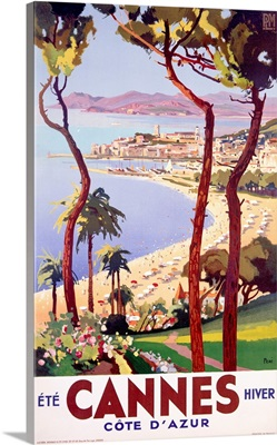 Ete Cannes Hiver, Travel Ad, Vintage Poster, by Peri