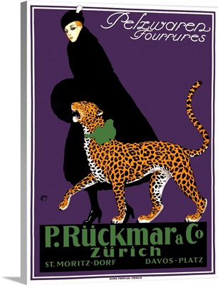 French Ruckmar Leopard Fashion Vintage Advertising Poster