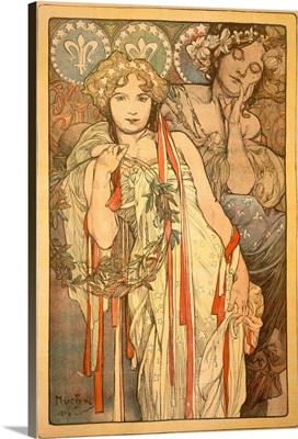 Friendship, Vintage Poster, by Alphonse Mucha