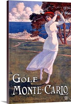 Golf, Monte Carlo, Vintage Poster