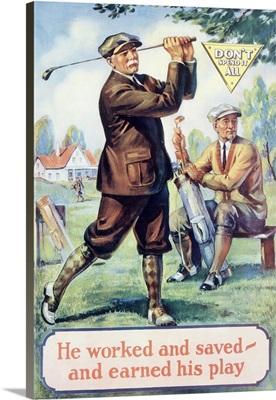 Golf, Motivational , Vintage Poster