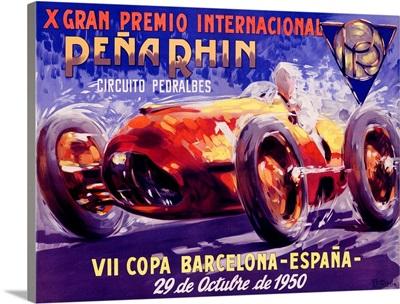 Gran Premio Internacional, Pena Rhin, 1950, Vintage Poster, by A. Garcia