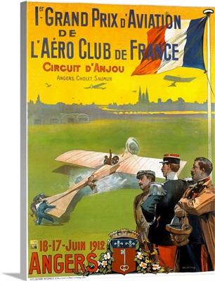 Grand Prix dAviation de LAero Club de Grance, Circuit dAnjou, Vintage Poster