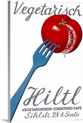 Hiltl, Vegetarian Restaurant, Vintage Poster
