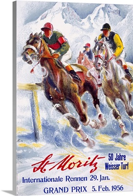 Horse Race, St. Moritz, Vintage Poster, by Hugo Laubi