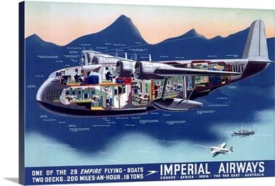 Imperial Airways, Flying Boat, Vintage Poster