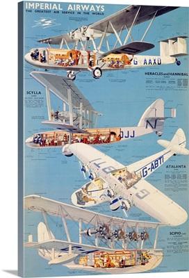 Imperial Airways, Plane Diagram, Vintage Poster