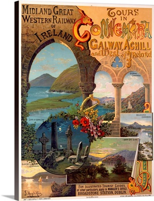 Ireland, Tours with Connemira Railway, Vintage Poster, by Hugo DAlesi