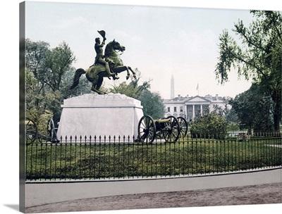 Jackson Monument and White House Washington District of Columbia Vintage Photograph