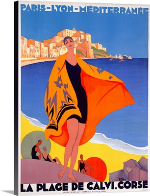 La Plage de Calvi. Corse, Vintage Poster, by Roger Broders