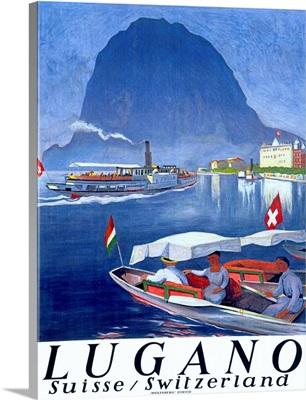 Lake Lugano, Switzerland, Vintage Poster, by Otto Baumberger