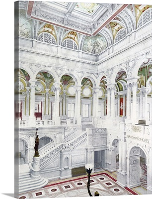 Library of Congress Central Stair Hall District of Columbia Vintage Photograph