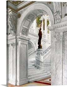 Library of Congress North Staircase Central Stair Hall Vintage Photograph